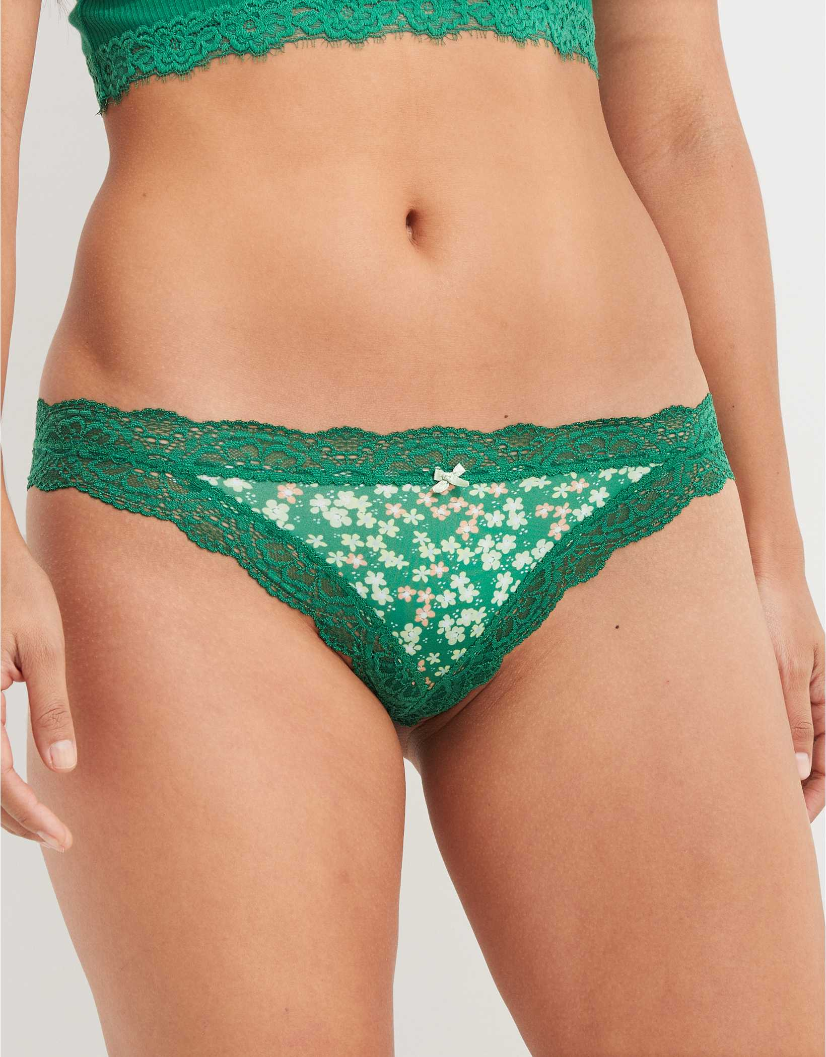 Aerie Slumber Party Lace Shine Thong Underwear