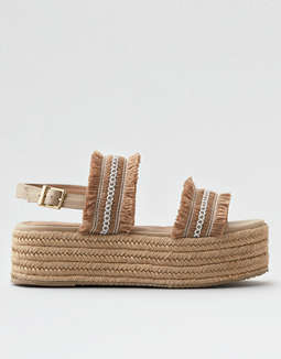 Kaanas Goa Frayed Platform Wedge Sandals