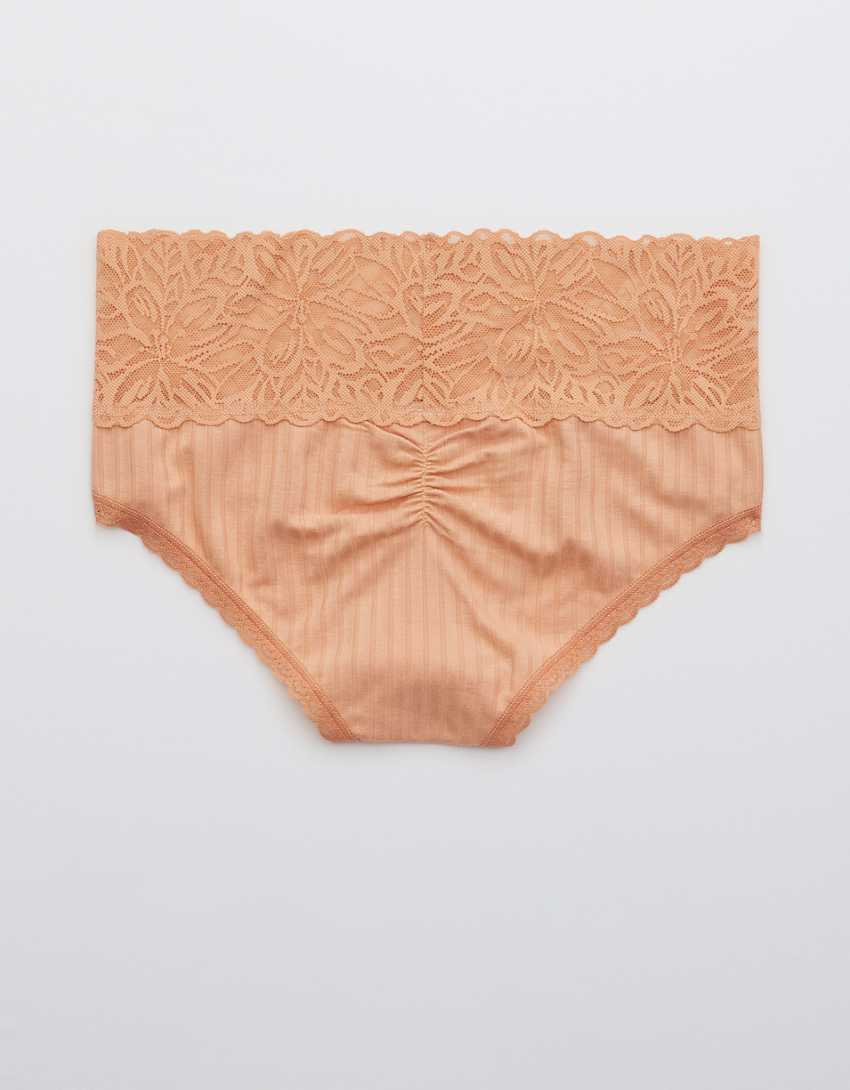 Aerie Ribbed Firework Lace Cheeky Underwear