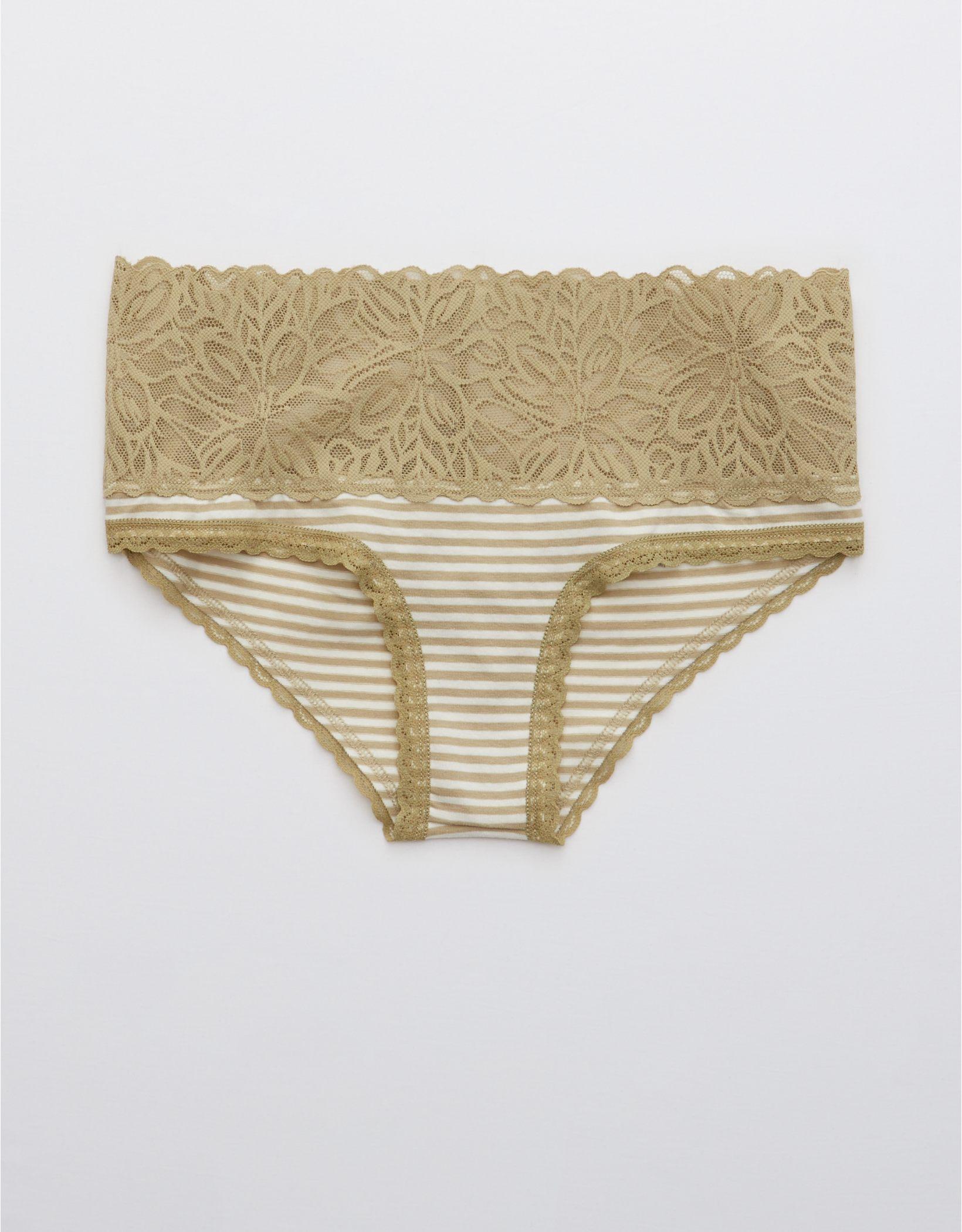 Aerie Cotton Firework Lace Striped Cheeky Underwear
