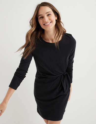 Aerie Side Tie Long Sleeve Dress