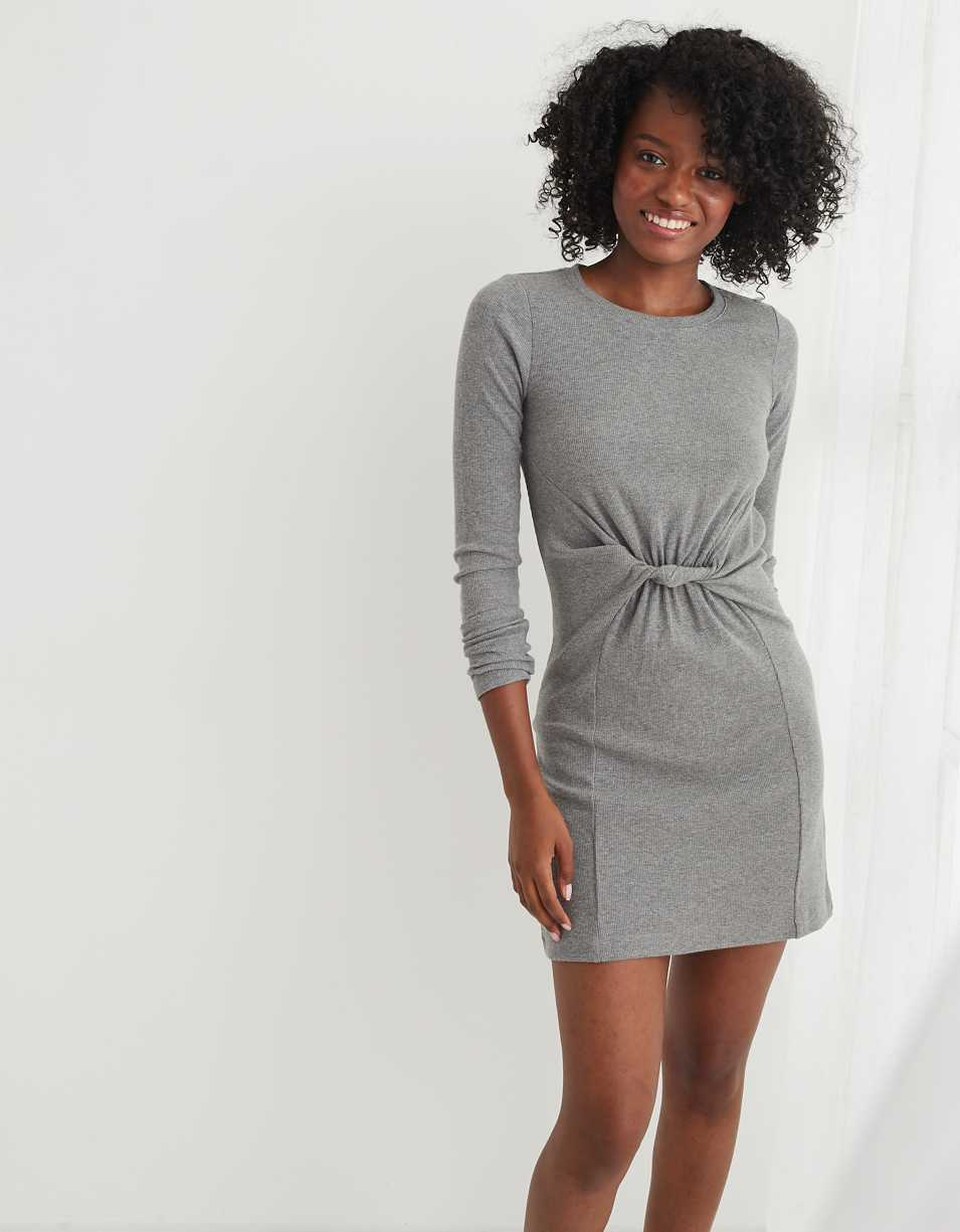 Aerie Ribbed Long Sleeve Twist Front Dress