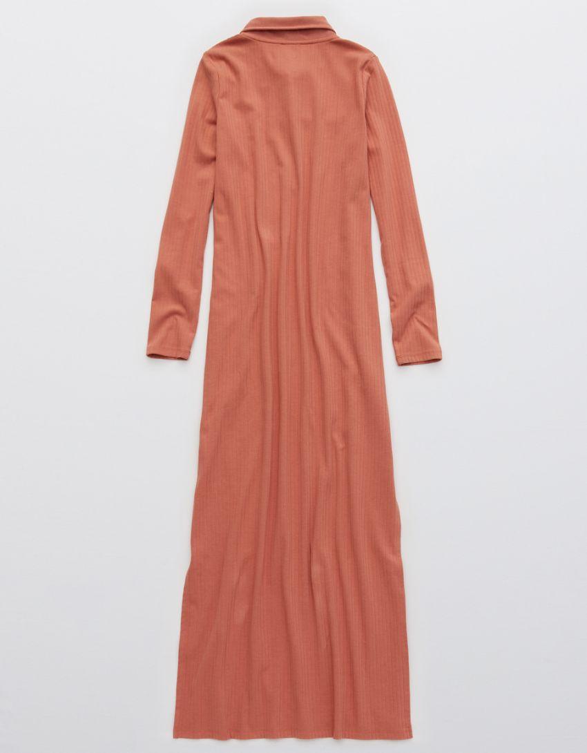 Aerie Ribbed Polo Midi Dress