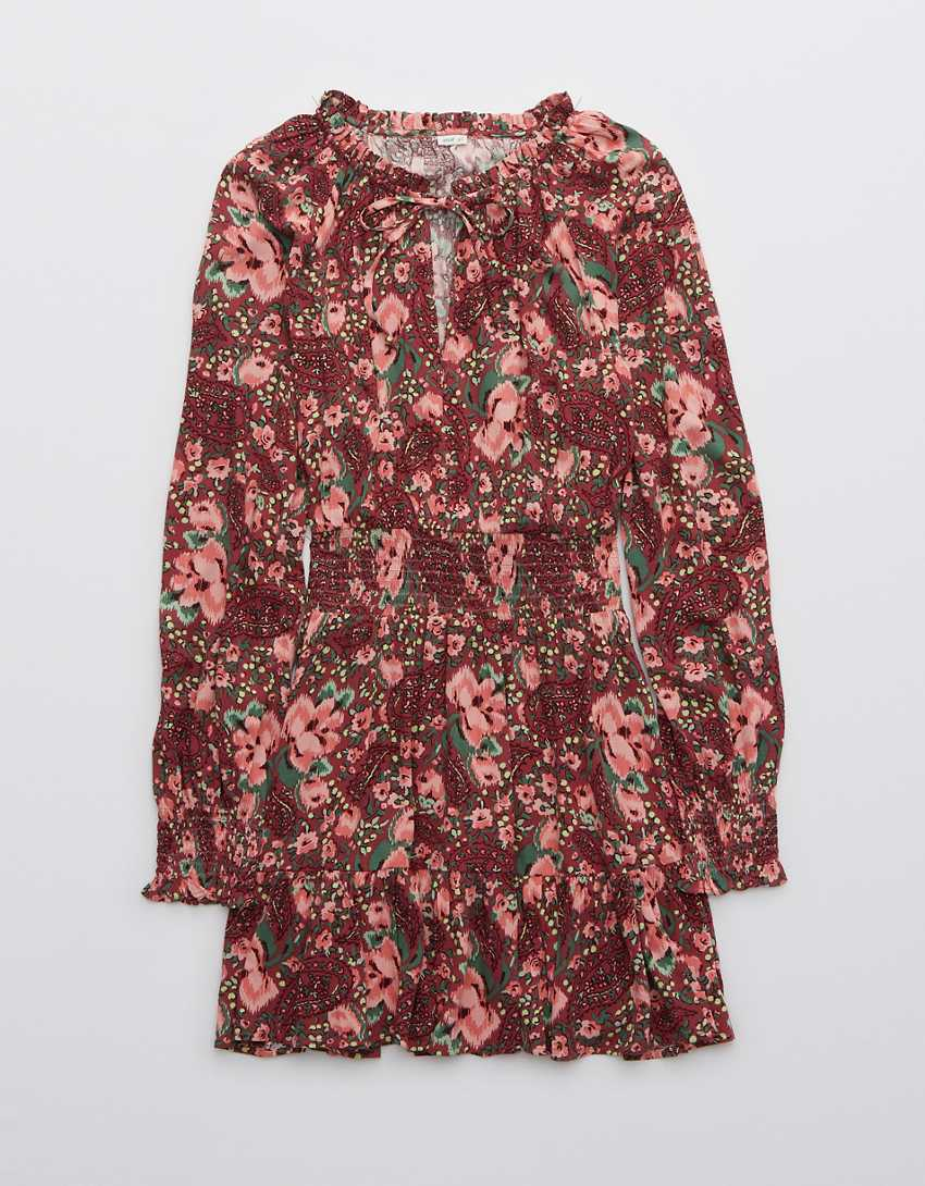 Aerie Printed Long Sleeve Mini Dress