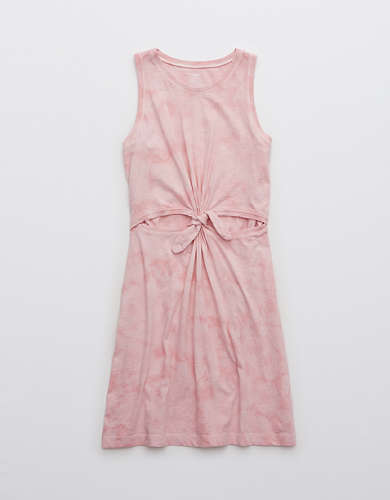 Aerie Tie Dye Cut Out Knot Dress