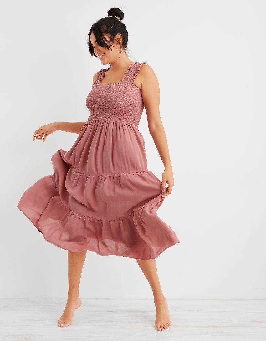 Aerie Smocked Midi Dress