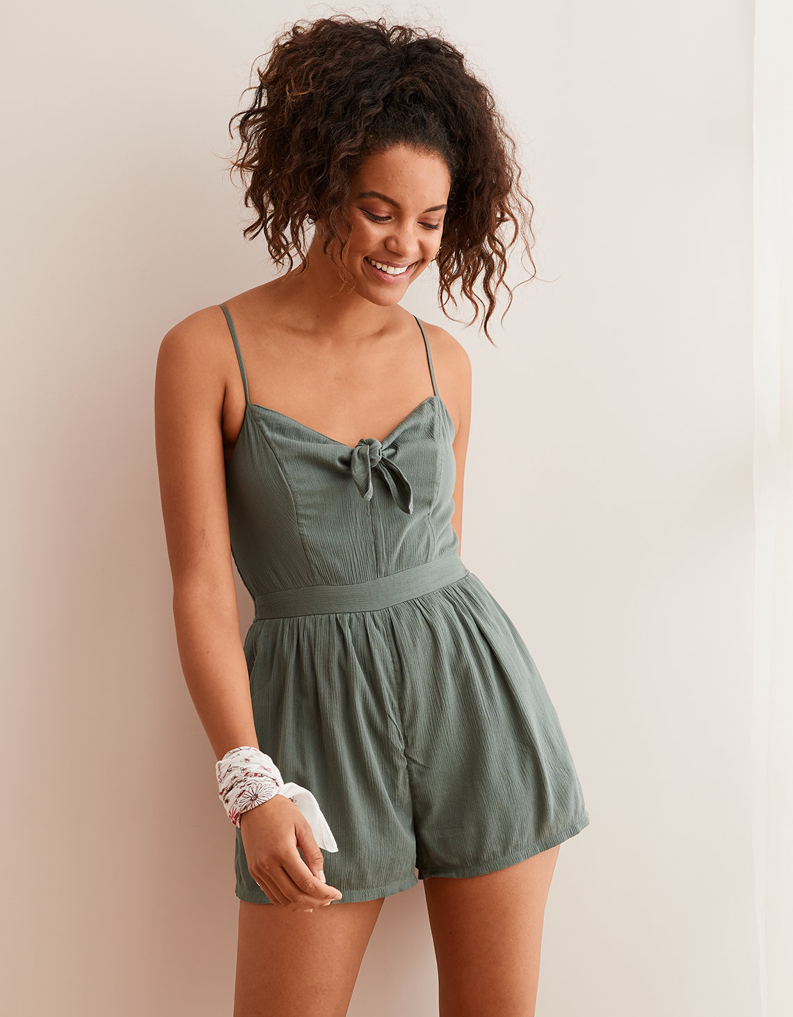 4a03c0d1aa Aerie Breezy Knot Romper