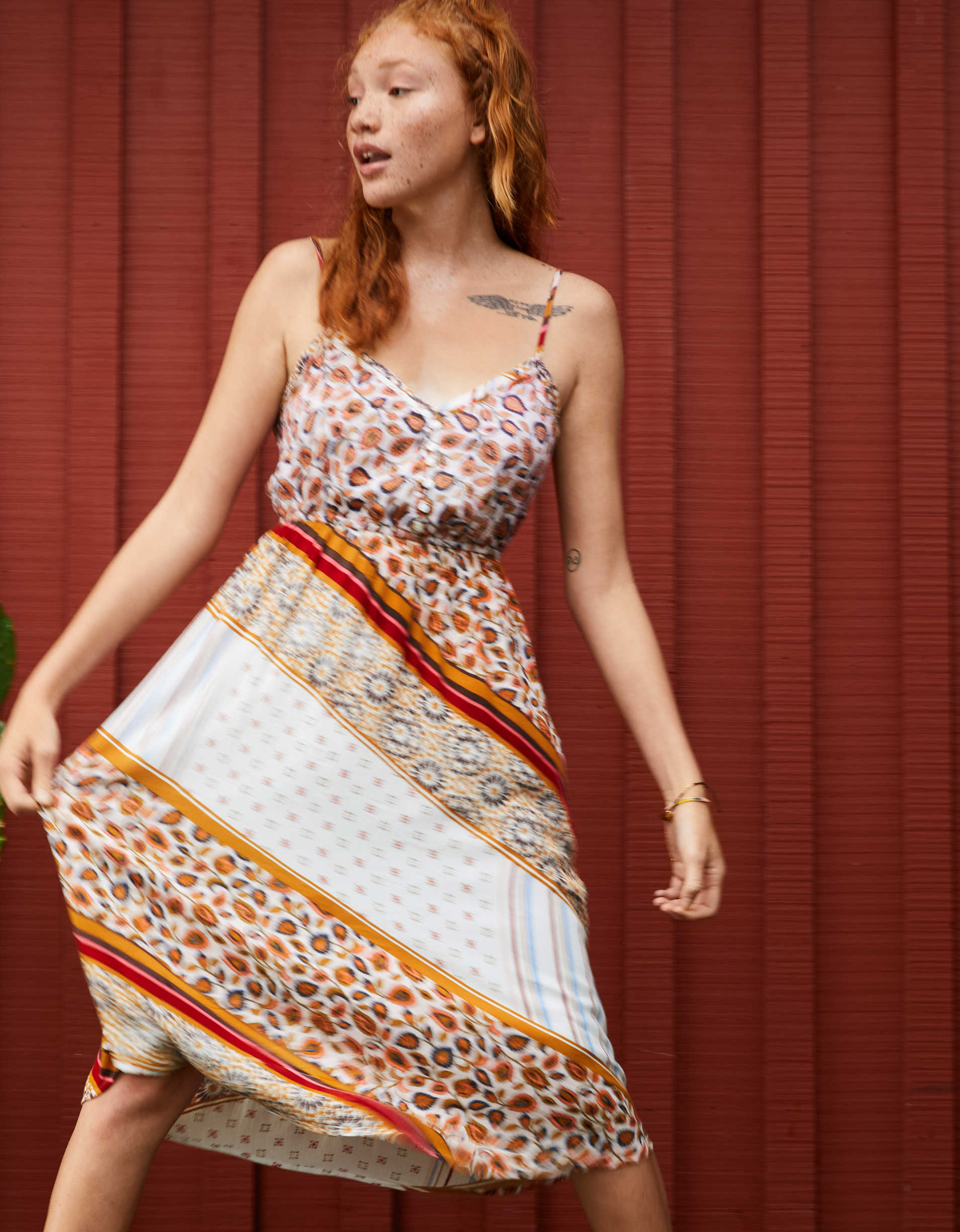 Aerie Patchwork Midi Dress
