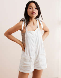 Aerie Shoulder Tie Overall Shorts by American Eagle Outfitters