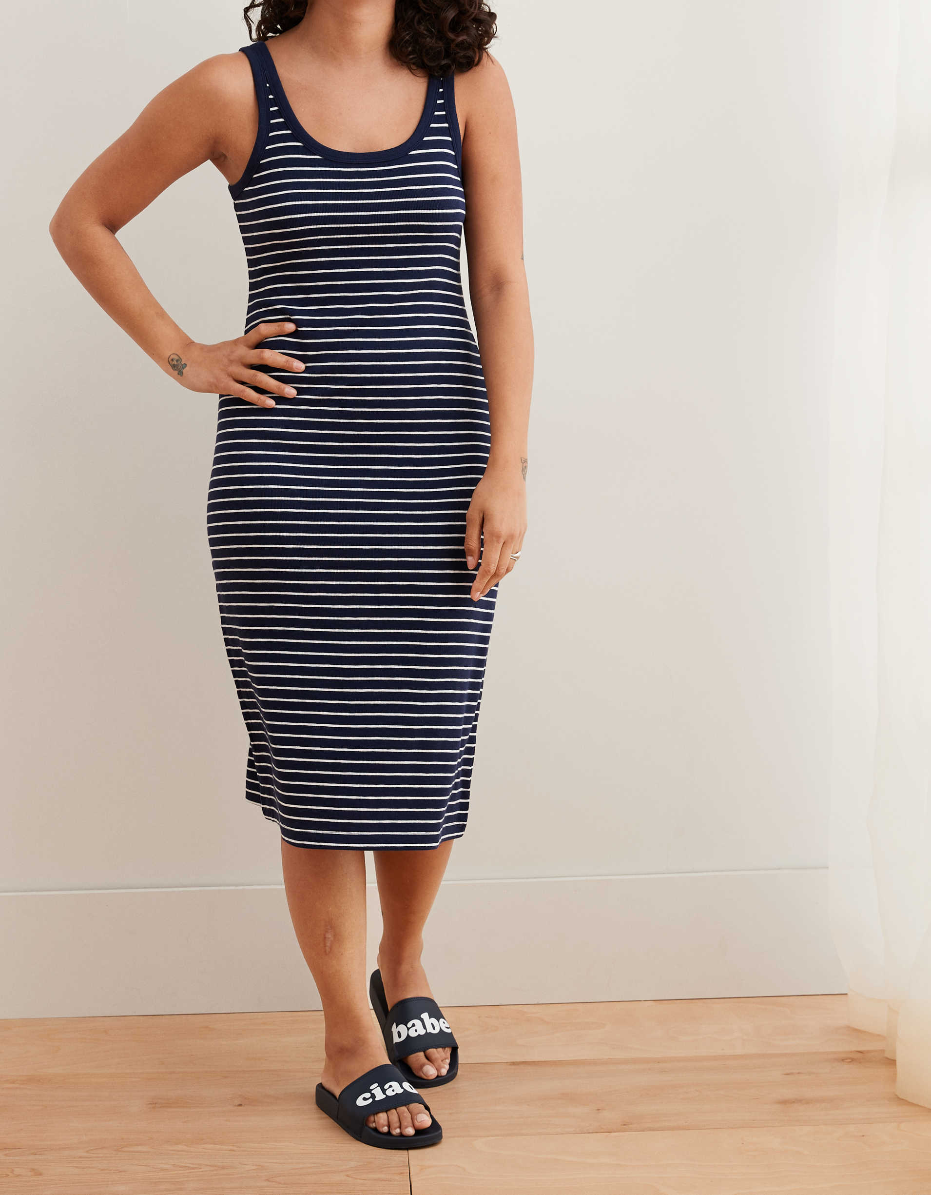 Aerie Ribbed Knit Midi Dress