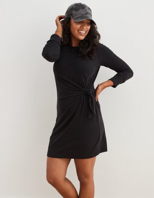 Aerie Long Sleeve Side Tie Dress by American Eagle Outfitters
