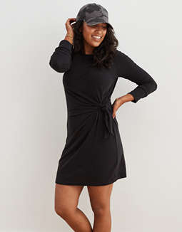 Aerie Long Sleeve Side Tie Dress