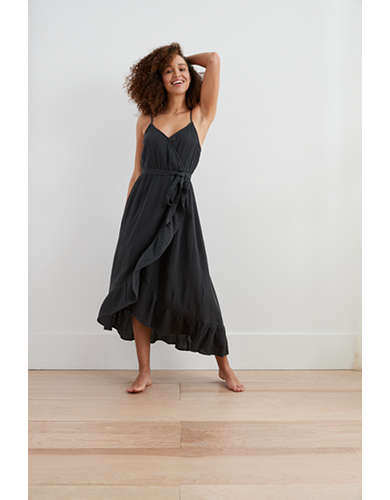 Aerie Ruffle Wrap Midi Dress