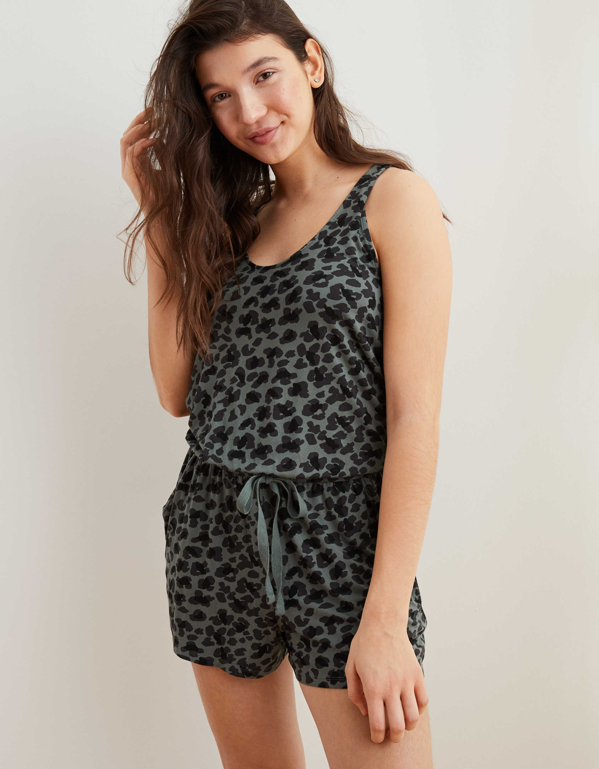 Aerie Kit Leopard Twist Back Romper