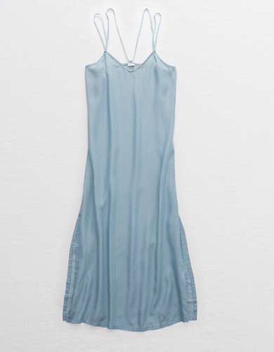 Aerie Chambray Midi Slip Dress