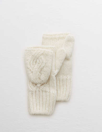 Aerie Cable Knit Convertible Mittens -