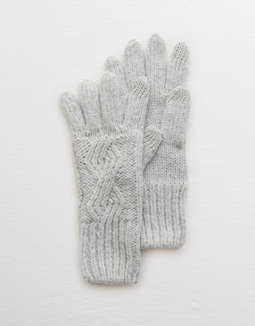 Aerie Cable Knit Texting Gloves by American Eagle Outfitters