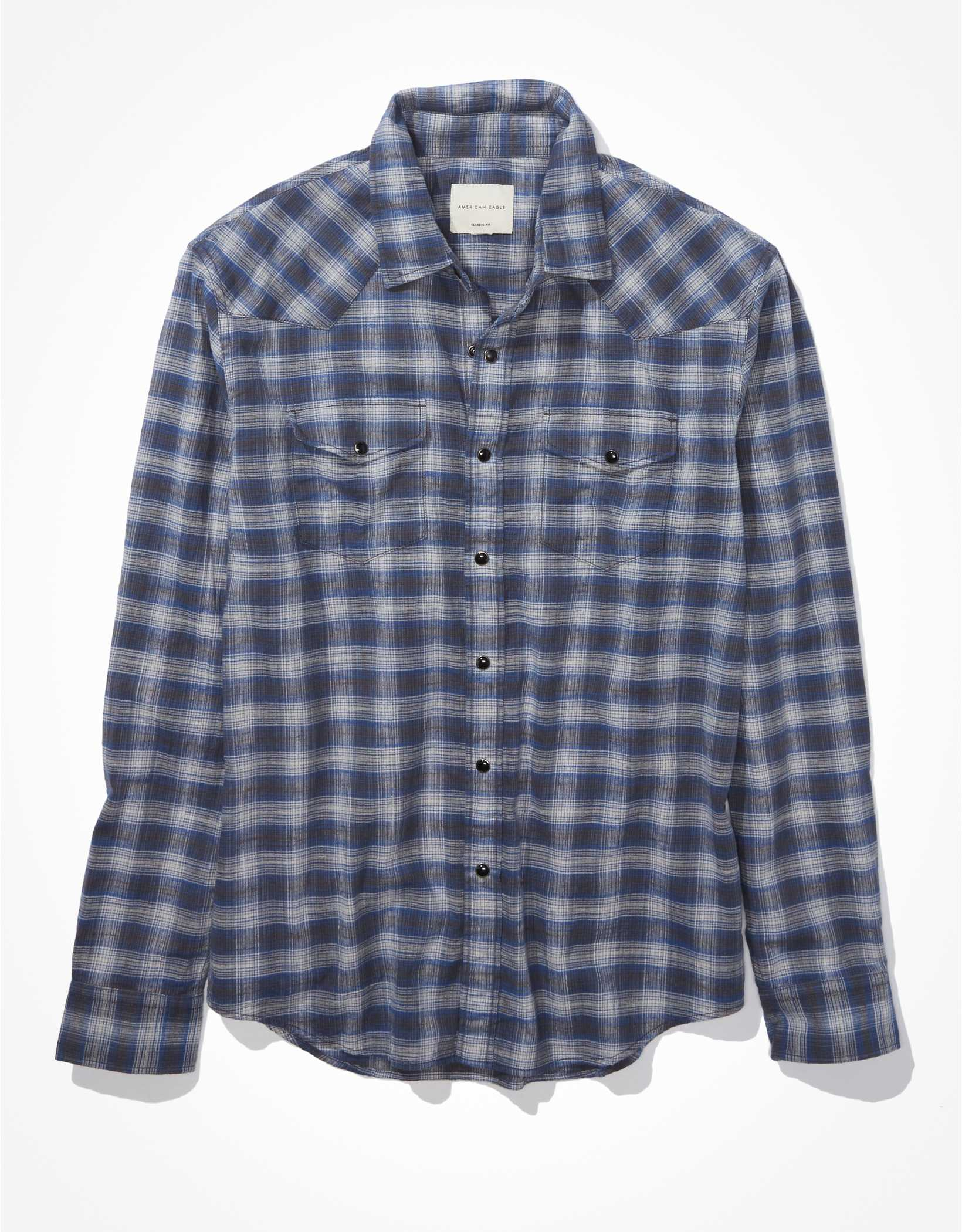 AE Super Soft Plaid Button-Up Shirt