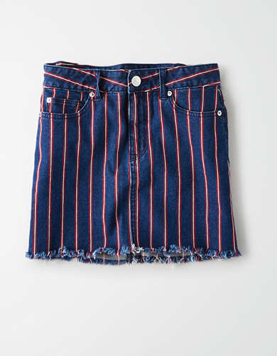 AE Ne(X)t Level High-Waisted Striped Denim Mini Skirt