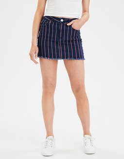 638953d9b placeholder image AE Ne(X)t Level High-Waisted Striped Denim Mini Skirt ...