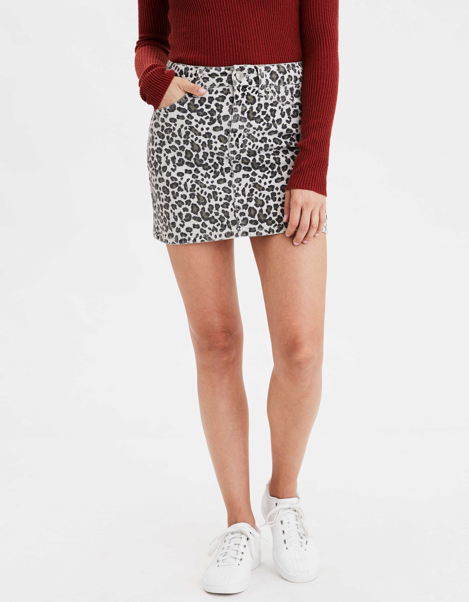 AE High-Waisted Corduroy Leopard Mini Skirt
