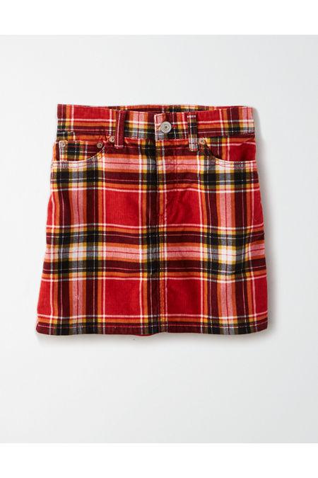 60s Skirts | 70s Hippie Skirts, Jumper Dresses AE High-Waisted Corduroy Plaid Mini Skirt Womens Preppy Red 20 Short $29.97 AT vintagedancer.com