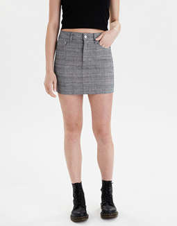High-Waisted Plaid Mini Skirt