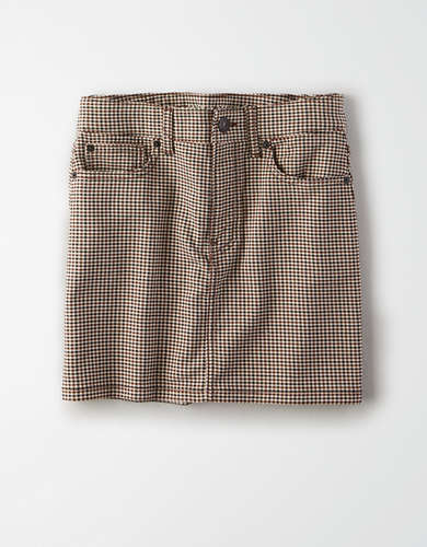 AE High-Waisted Houndstooth Mini Skirt