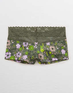 Aerie Lace Trim Cotton Boyshort Undie
