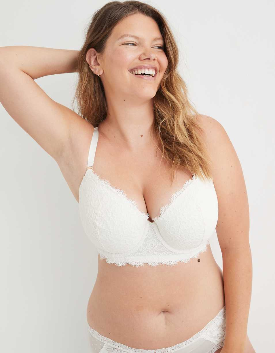 Aerie Real Power Balconette Eyelash Lace Lightly Lined Bra