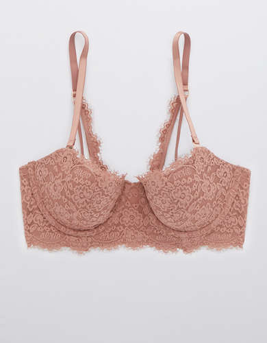 Aerie Real Power Eyelash Lace Balconette Lightly Lined Bra