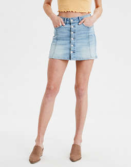 c1c75066007 placeholder image AE High-Waisted A-Line Denim Skirt ...