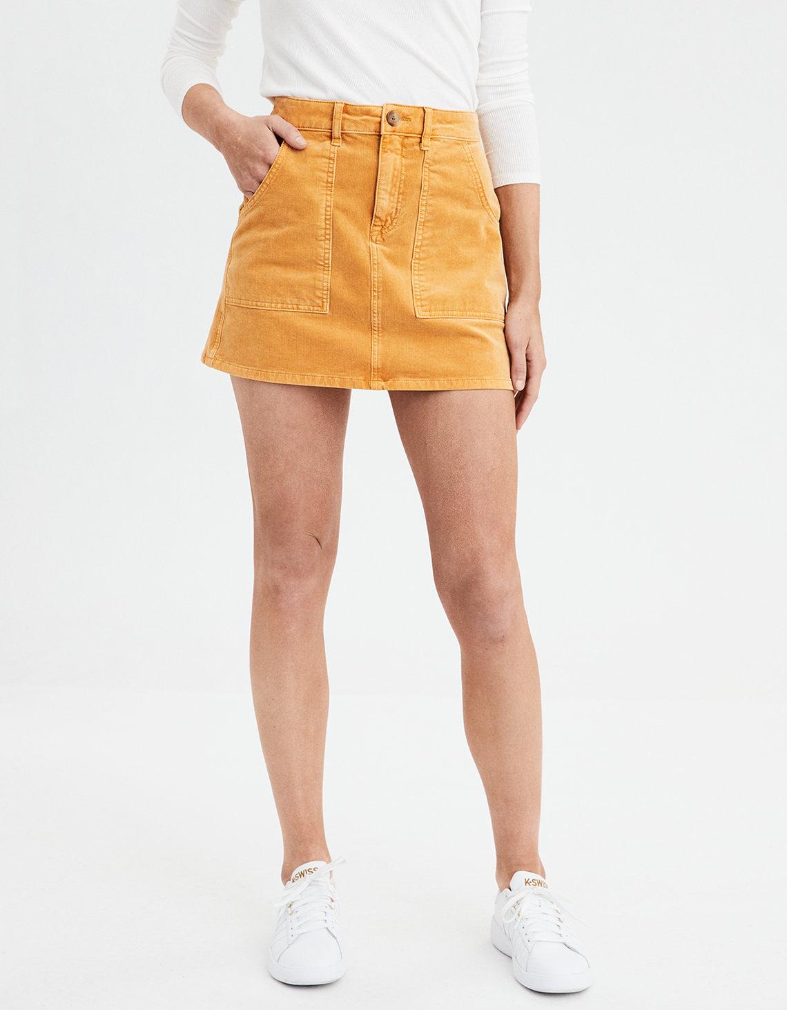 ce8ad709d9 AE High-Waisted A-Line Corduroy Skirt