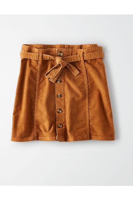 60s Skirts | 70s Hippie Skirts, Jumper Dresses AE High-Waisted Corduroy A-Line Skirt Womens Chestnut 18 $24.97 AT vintagedancer.com