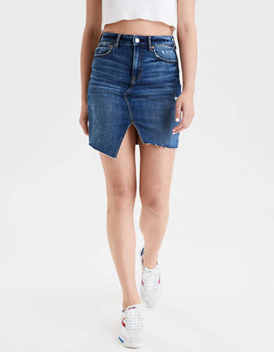 AE Super High-Waisted Denim Midi Skirt