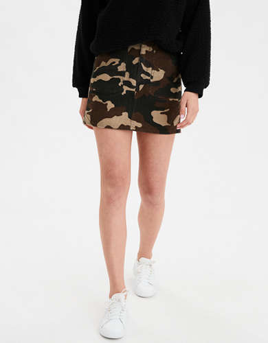 AE High-Waisted Camo Corduroy A-Line Skirt