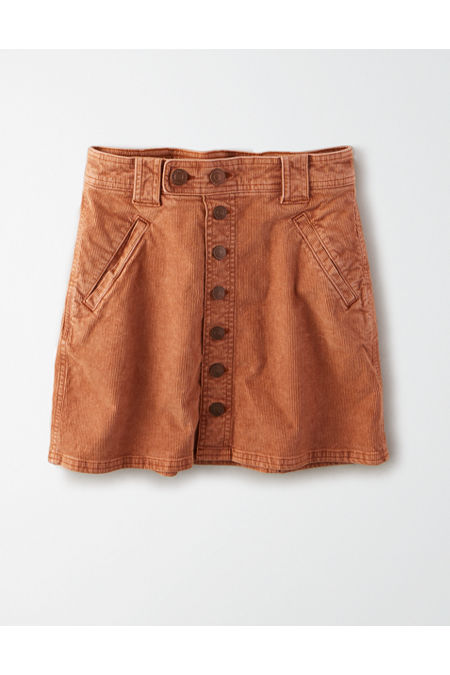 60s Skirts | 70s Hippie Skirts, Jumper Dresses AE High-Waisted Corduroy A-Line Skirt Womens Latte 00 Short $29.97 AT vintagedancer.com