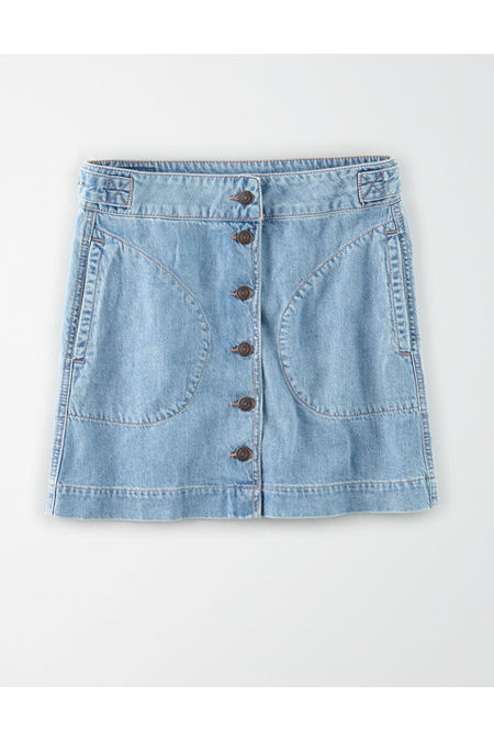 60s Skirts | 70s Hippie Skirts, Jumper Dresses AE Super High-Waisted Denim A-Line Skirt Womens Faded Light 00 $29.97 AT vintagedancer.com