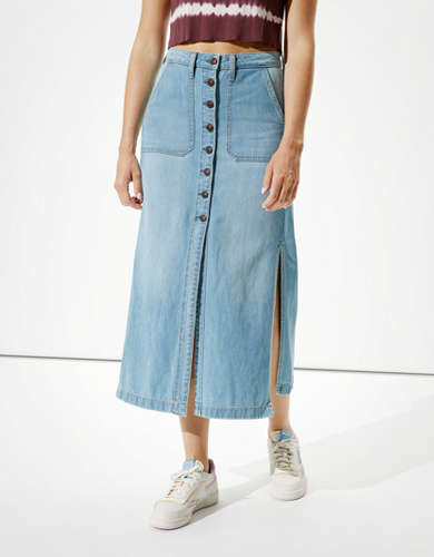 AE Super High-Waisted Denim Maxi Skirt