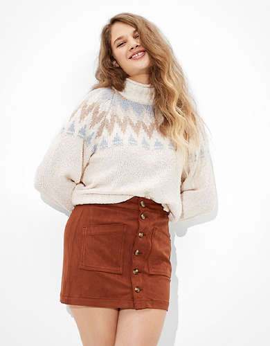 AE Super High-Waisted Faux Suede A-Line Skirt