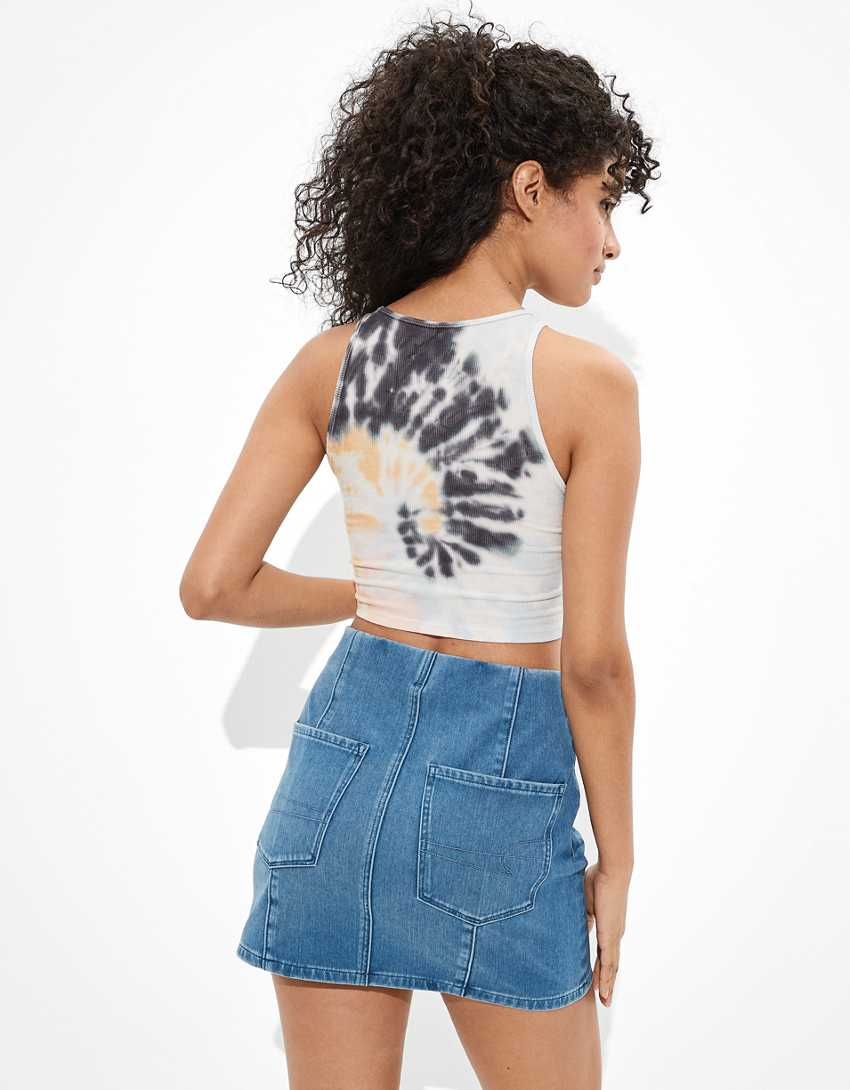 AE Dream Super High-Waisted Denim A-Line Skirt