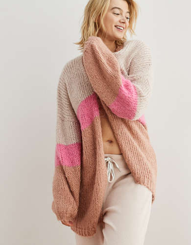 Aerie Colorblock Oversized Cardigan