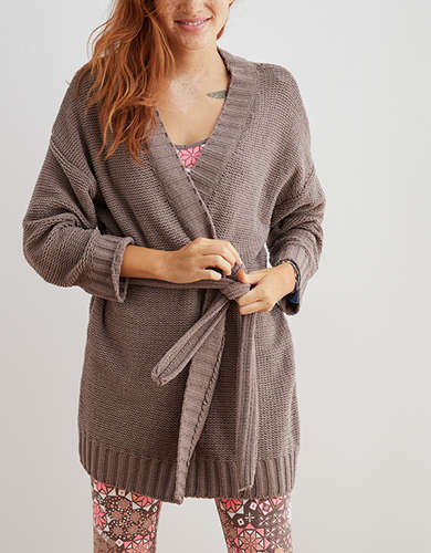 Aerie Chenille Belted Cardigan