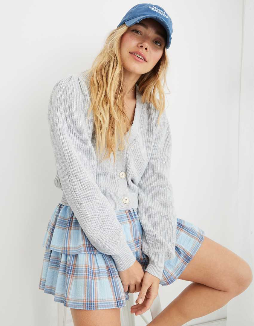 Aerie Button Cropped Cardigan