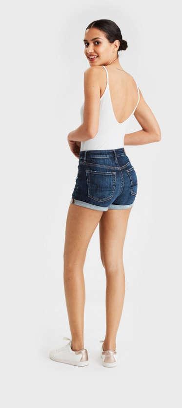 Womens Ladies Highwaist Denim Lace up Shorts Urban Classic RS7U10rkI