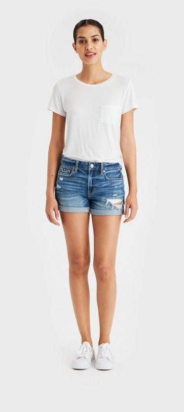 Skin Long Denim Shorts - 18 black Pieces
