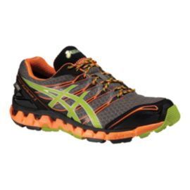 ASICS Men's Gel Fuji Sensor 3 GTX Trail Running Shoes - Grey/Orange/Lime Green