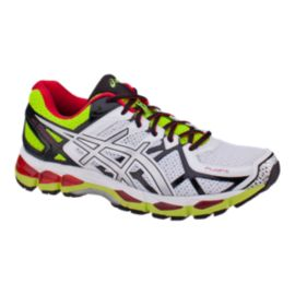 ASICS Men's Gel Kayano 21 Running Shoes - White/Red/Lime Green