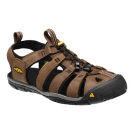 Keen Men's Clearwater CNX Leather Sandals - Dark Earth/Black