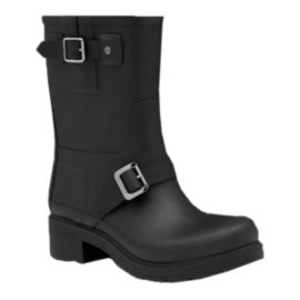 Hunter Women's Original Rubber Biker Rain Boots - Black